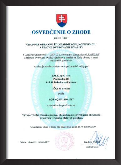 Osvedčenie o zhode SMS Dubnica