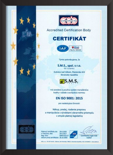 ISO 9001 SMS Dubnica
